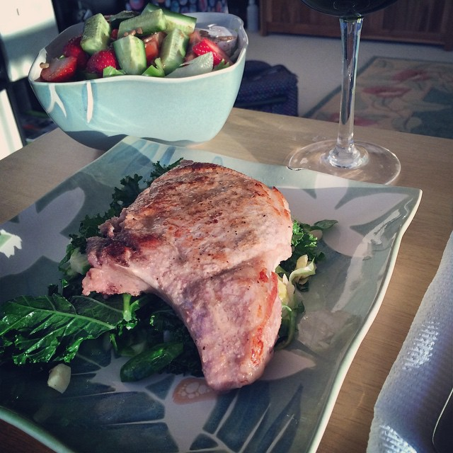 I LOVE to cook for my honey ... Happy Honey Happy Cook :) last nights dinner ... I bake my pork chops then sear for a minute on each side ... That way the juices stay in and the meat is softer ... Buggah ʻOno !!!